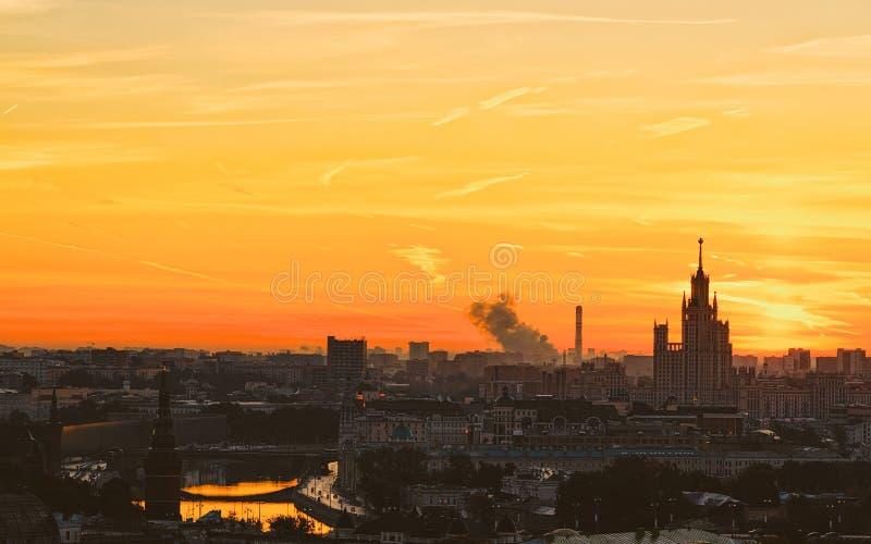 Sunrise at Kotelnicheskaya Embankment Building royalty free stock photo