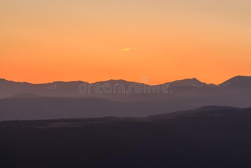 Sunrise from the La Molina ski slopes stock photos