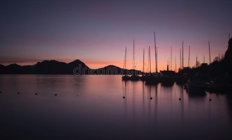 Sunrise on Lago Maggiore - Italy. stock photo
