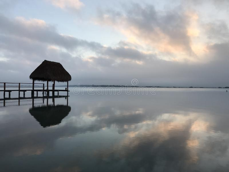 Sunrise in Bacalar stock images