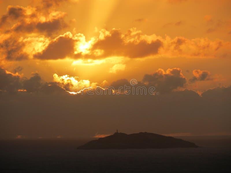 Ilha dos lobos - Wolf Island. Sunrise on Laguna, Santa Catarina, Brasil, ft Ilha dos lobos stock photo