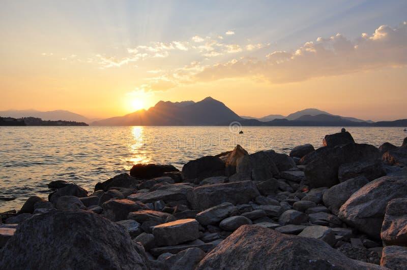 Sunrise lake Maggiore, Italy royalty free stock image