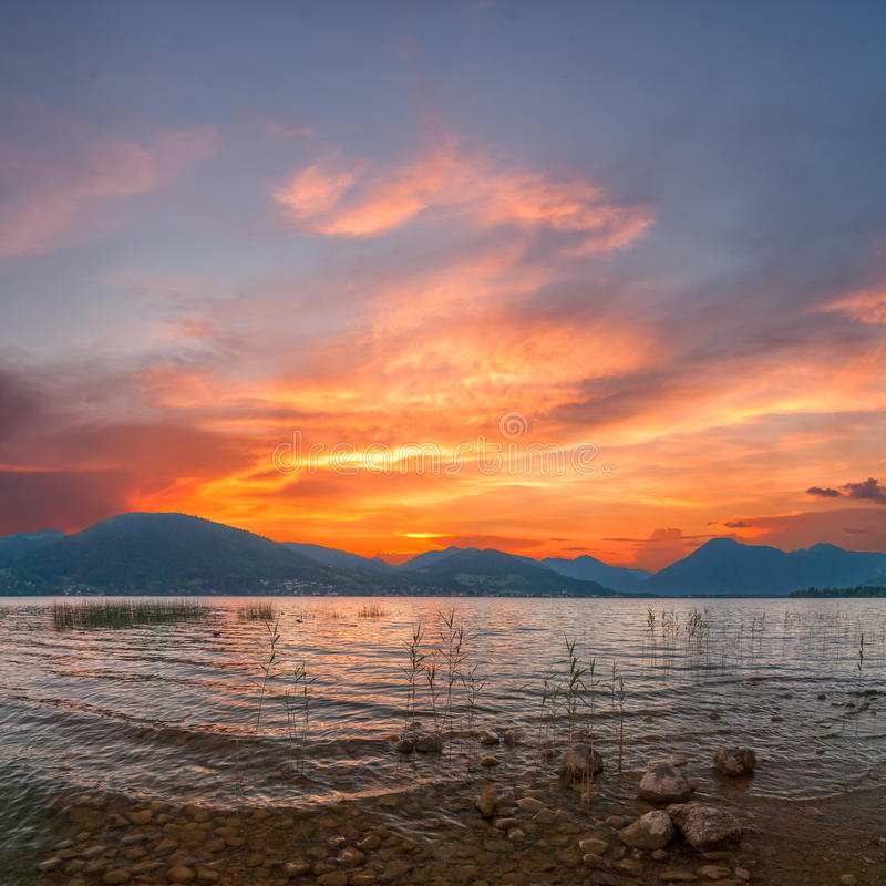 Download Sunrise On Lake With Majestic Clouds Stock Image - Image of panorama, majestic: 26215941