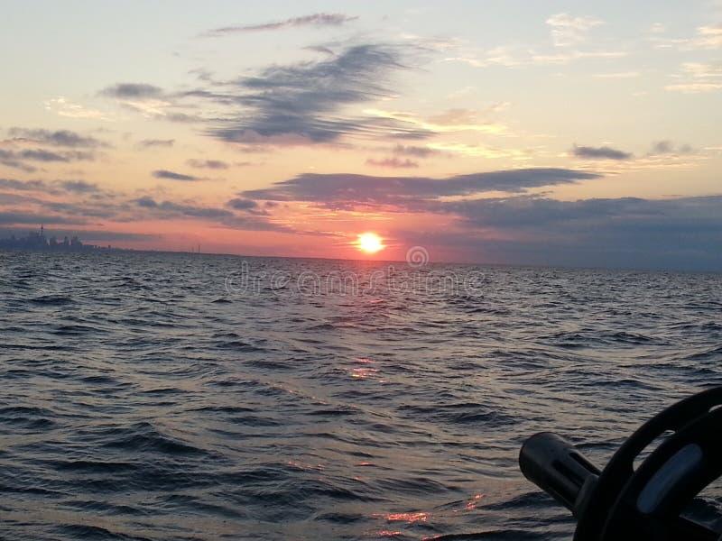 Sunrise on lake royalty free stock photo