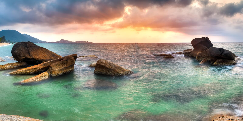 Sunrise at lamai beach. Panorama of sunrise on Lamai beach, Samui royalty free stock photo
