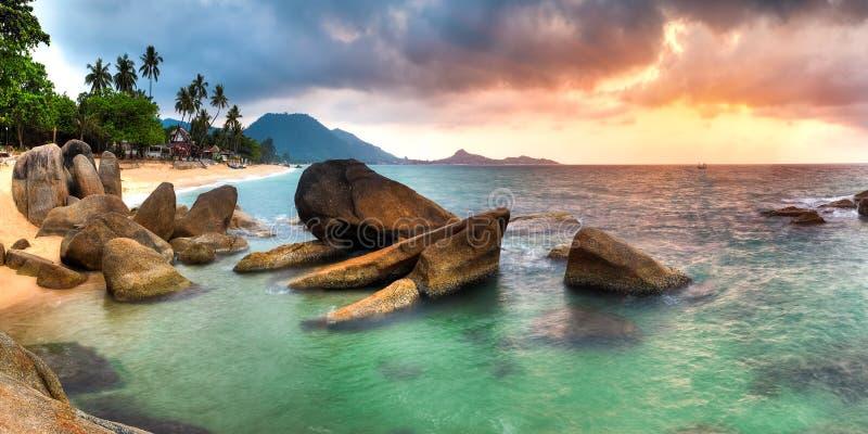 Sunrise at lamai beach. Panorama of sunrise on Lamai beach, Samui royalty free stock image