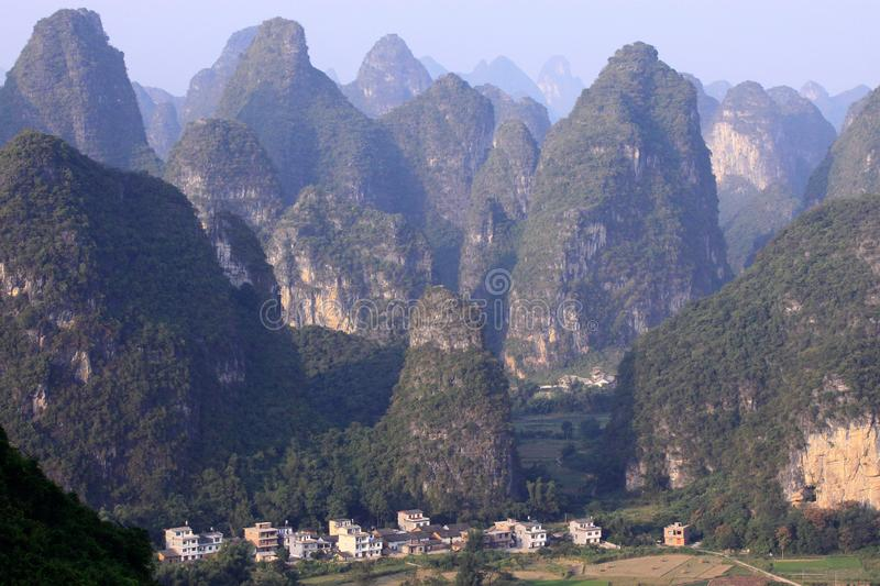 Sunrise Landscape of Guilin Karst mountains. Yangshuo, Guilin, Guangxi, China. royalty free stock images