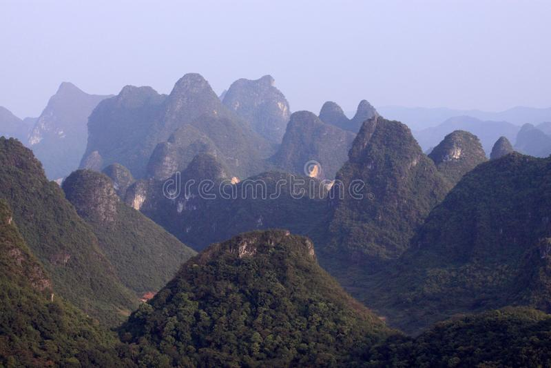 Sunrise Landscape of Guilin Karst mountains. Yangshuo, Guilin, Guangxi, China. stock photography