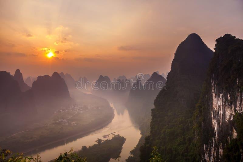 Sunrise Landscape of Guilin,Yangsuo,Li River. Sunrise Landscape of Guilin , Li River and Karst mountains, Xingping of Yangsuo, Guangxi Province, China stock images