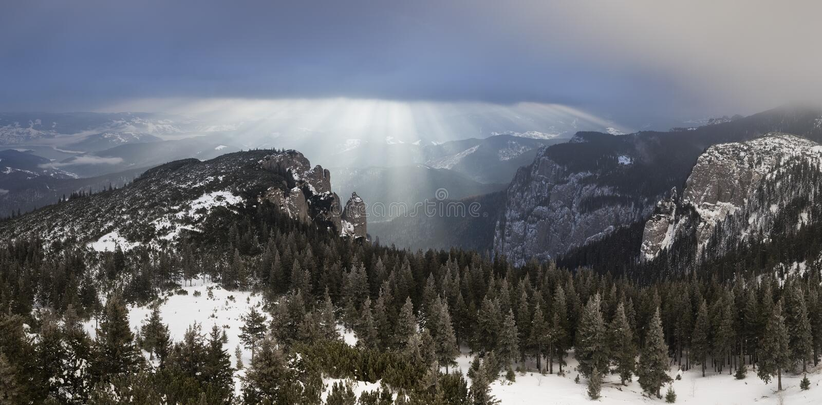 Sunrise landscape in the mountains an a winter day stock image
