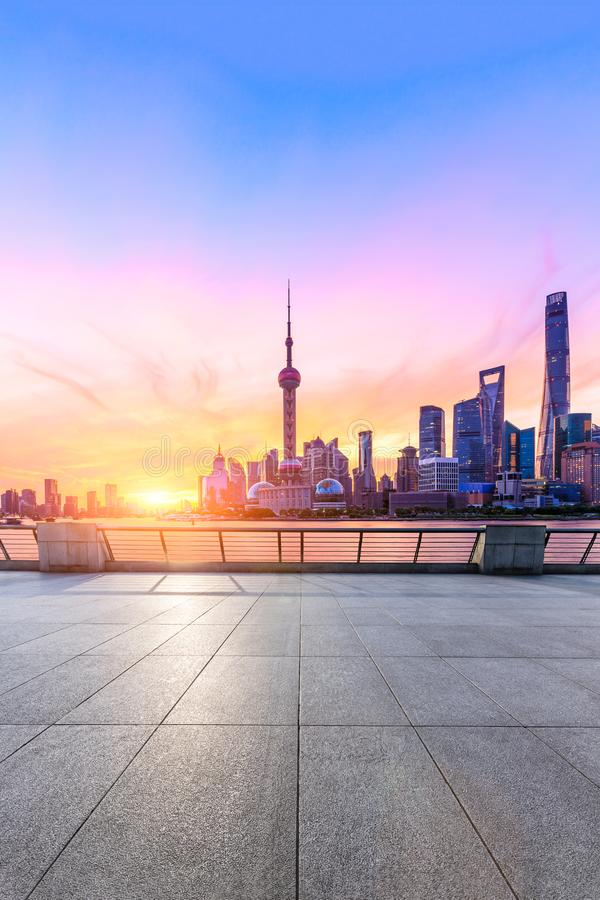 Sunrise landscape and square floor of Shanghai City Business Center stock photo