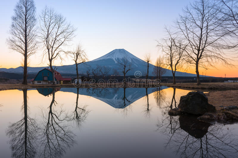 Sunrise landscape view with Fuji Mountain stock photography