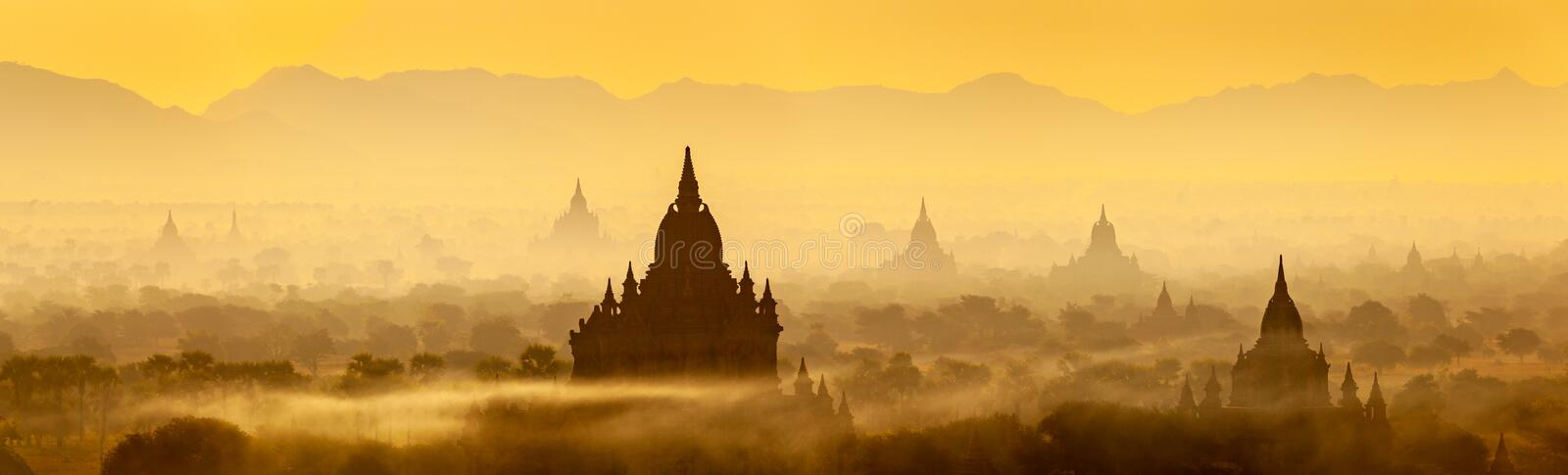 Sunrise landscape view with silhouettes of old temples, Bagan, Myanmar Burma stock image