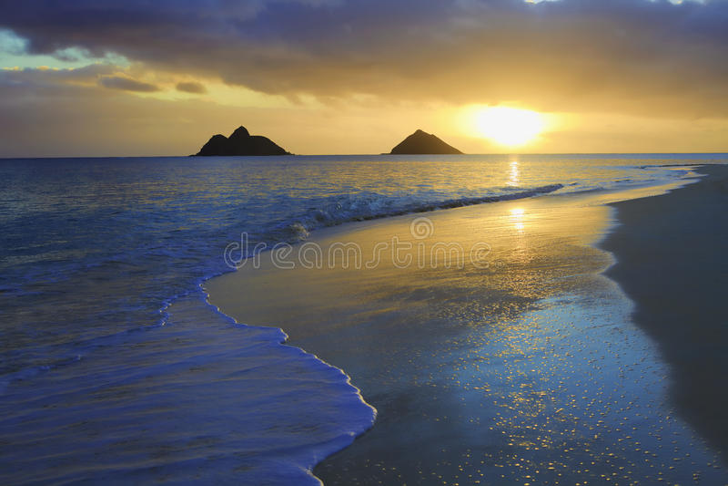 Sunrise at lanikai beach stock image