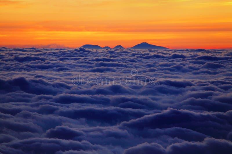 Sunrise on the Lava Volcano. Indonesia royalty free stock photo