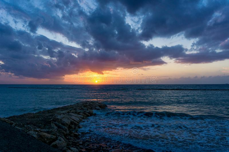 Sunrise in Limassol, Cyprus royalty free stock image