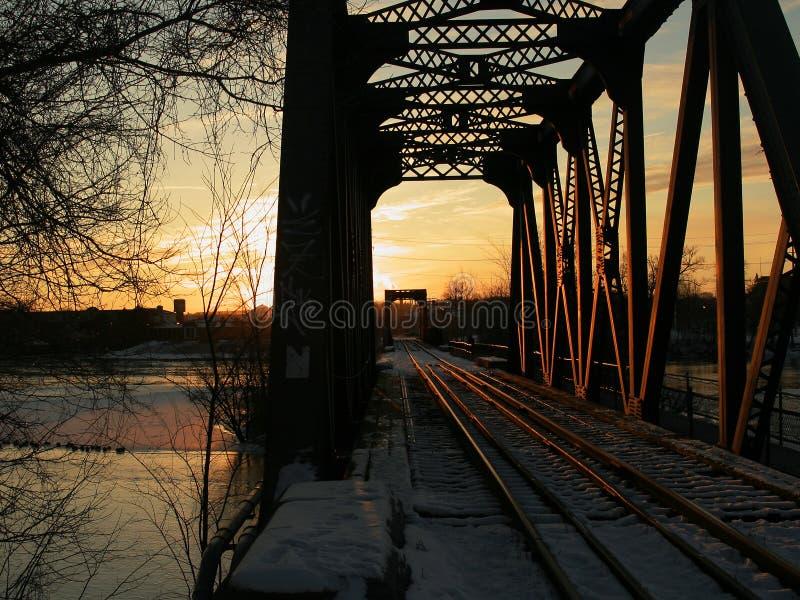 Sunrise Lit Train Tracks royalty free stock photos