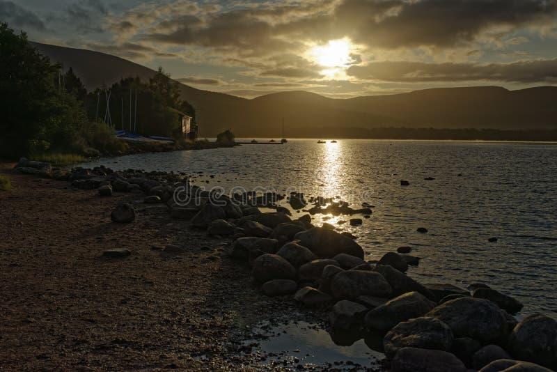Sunrise on Loch Morlich stock photos