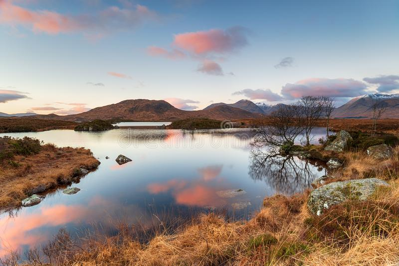 Sunrise at Lochan na h-Achlaise royalty free stock photos