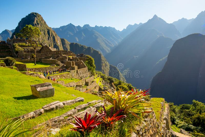 Sunrise on Machu Picchu, the lost city of inca. Peru royalty free stock photos