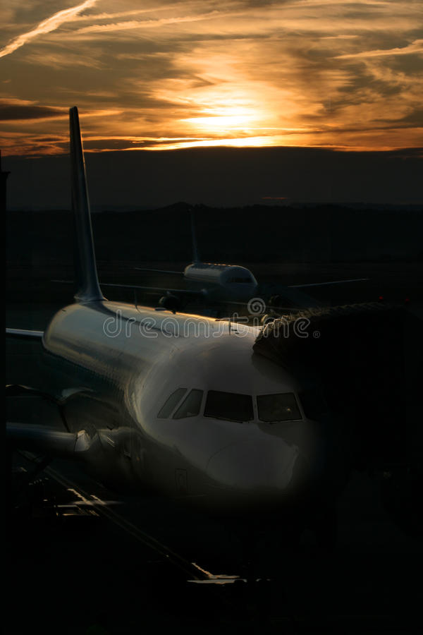 Sunrise at Madrid airport stock photo
