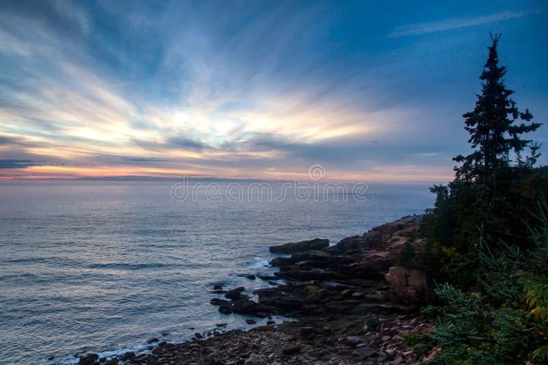 Sunrise on maine coast royalty free stock images