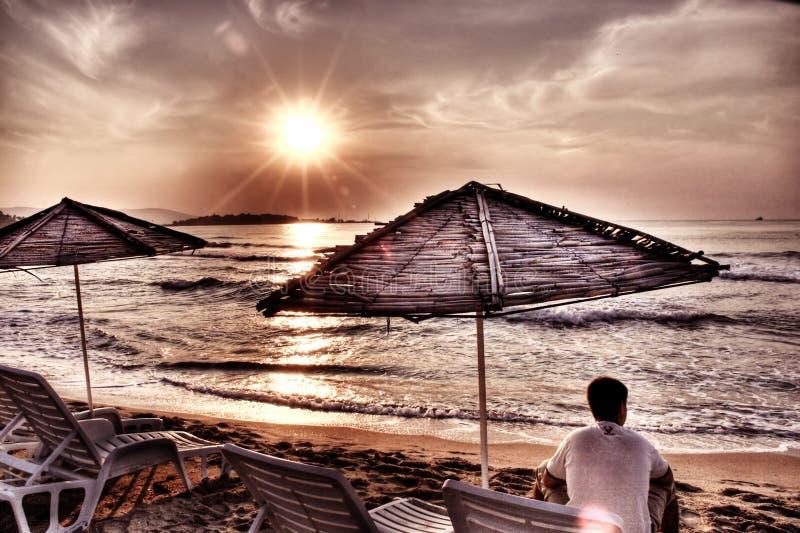Sunrise and man stock photo