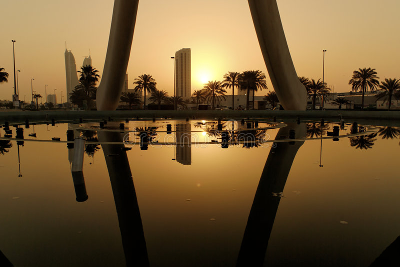 Download Sunrise in Manama stock photo. Image of pearl, reflection - 5014128