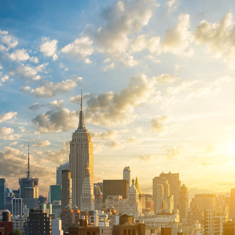 Sunrise in Manhattan, New York royalty free stock photo