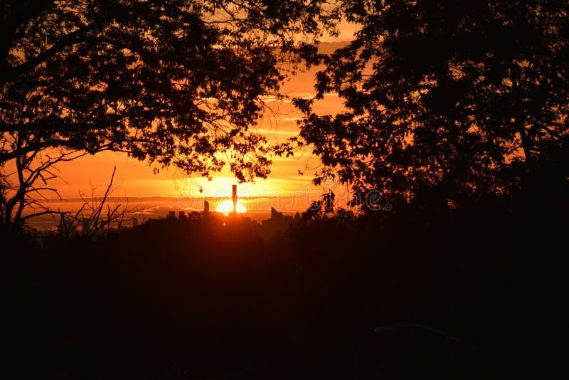 Sunrise, manhattan, New York City NYC NY. seen from NJ New Jersey. royalty free stock images