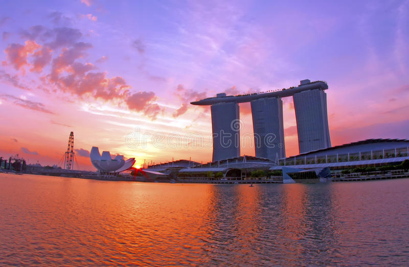 Sunrise at Marina Bay royalty free stock photos
