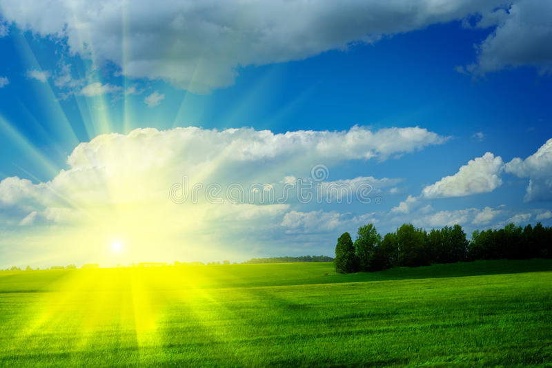 Download Sunrise On A Meadow With Beautiful Cloudy Blue Sky Stock Photo - Image: 10140612