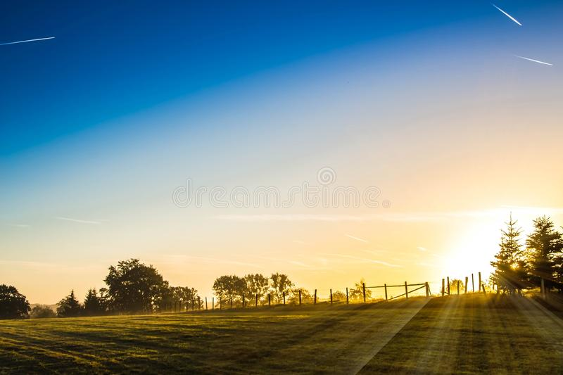 Sunrise on meadow royalty free stock images
