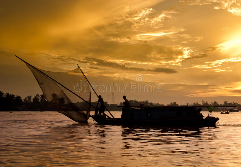 Download Sunrise On The Mekong River Stock Photo - Image: 17130316