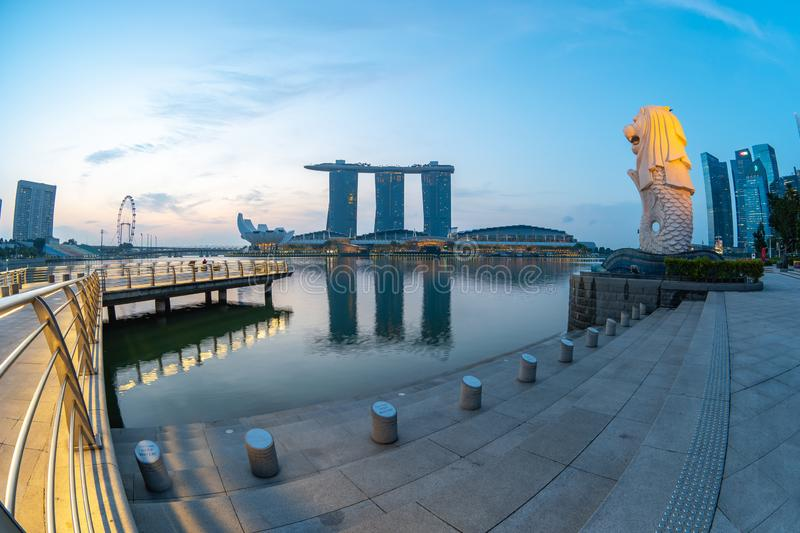 Sunrise with Merlion Park with landmark buildings in Singapore. royalty free stock images