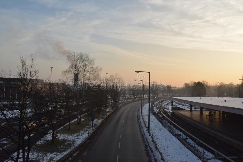 Sunrise at Messe royalty free stock photography