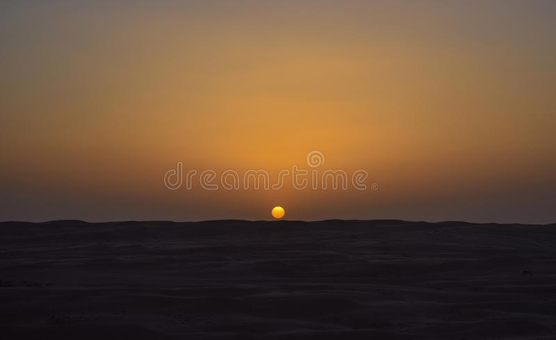 Sunrise in the middle of the desert stock photos