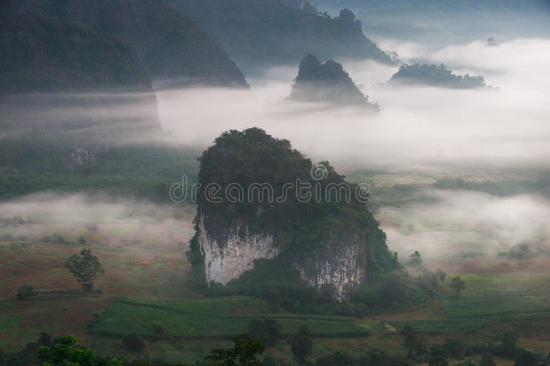 Sunrise and The Mist with Mountain Background in the morning, La. Ndscape at Phu Langka, Payao Province, Thailand royalty free stock photo