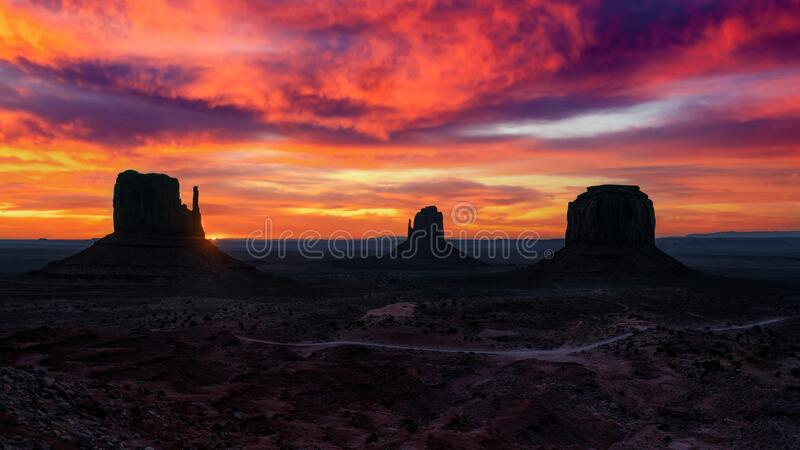 Sunrise of Monument Valley stock images
