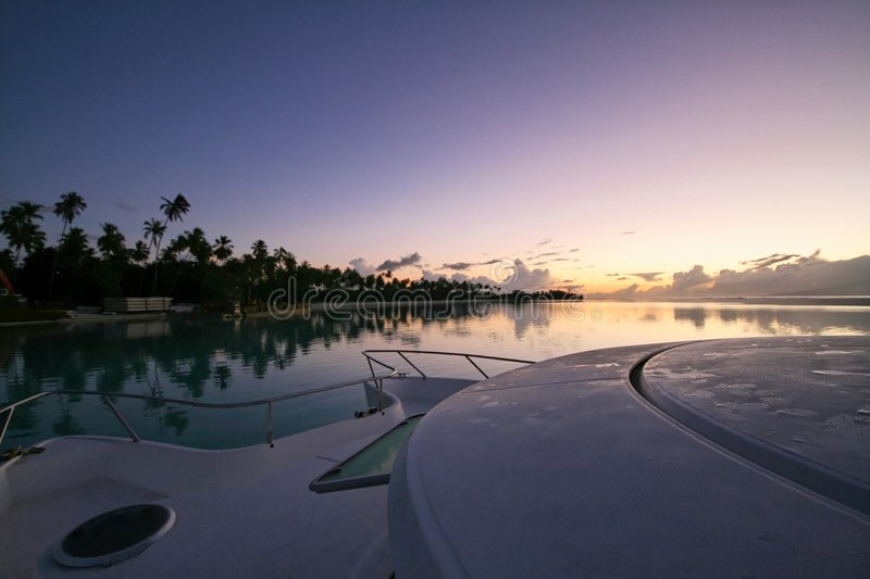 Sunrise on Moorea stock photography
