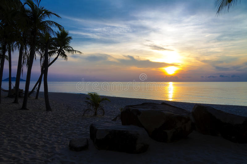 Sunrise morning. At Ban Krut Beach, Prachuap Khirikhun Province Thailand stock image