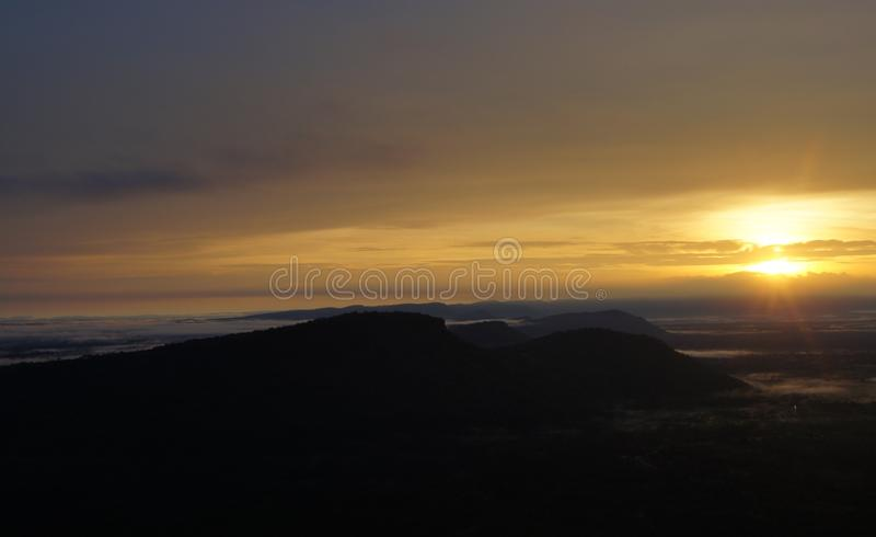 The sunrise in the morning near the border of Thailand. stock image