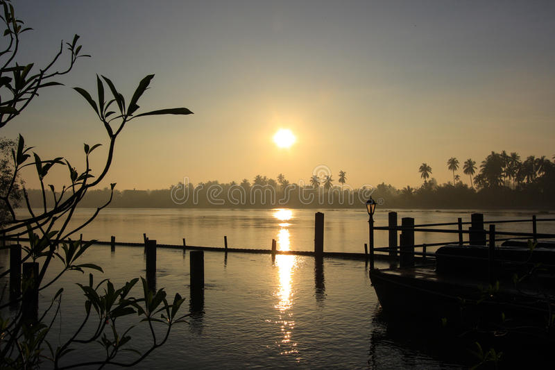 Sunrise and morning sky at Mae Klong River. Mae Klong River in this picture is in Amphawa district,Samut Songkhram Province,Thailand. Not far from Amphawa stock images