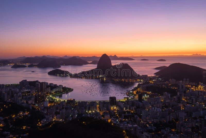 Sunrise Morro Dona Marta, Rio de Janeiro, Brazil. Sunrise Morro Dona Marta, looking Sugarloaf, Rio de Janeiro, Brazil stock photo
