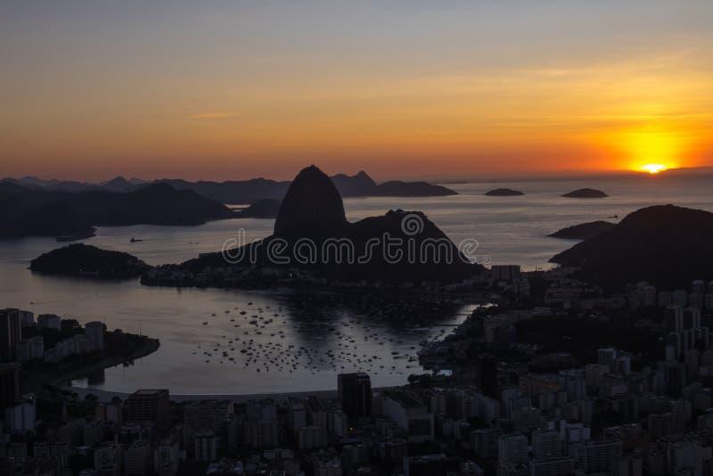 Sunrise Morro Dona Marta, Rio de Janeiro, Brazil. Sunrise Morro Dona Marta, looking Sugarloaf, Rio de Janeiro, Brazil royalty free stock photo