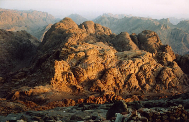 Sunrise at Mount Sinai, Egypt stock photos