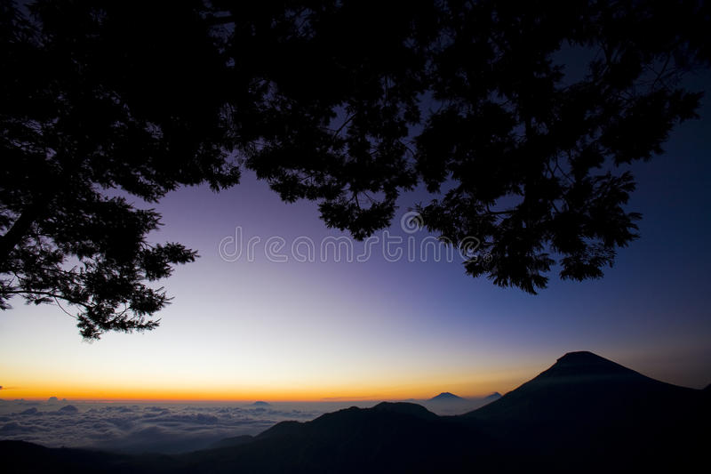 Sunrise At The Mountain Above The Sky Stock Photography