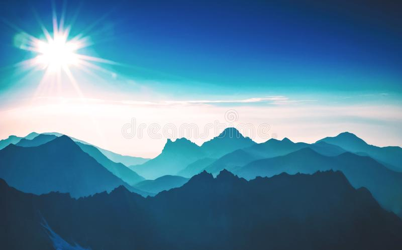 Download Sunrise in mountain stock image. Image of scenic, colorful - 104752979