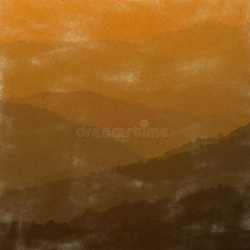 Sunrise mountain Digital Art watercolor on vintage paper created. By Photographer stock photography