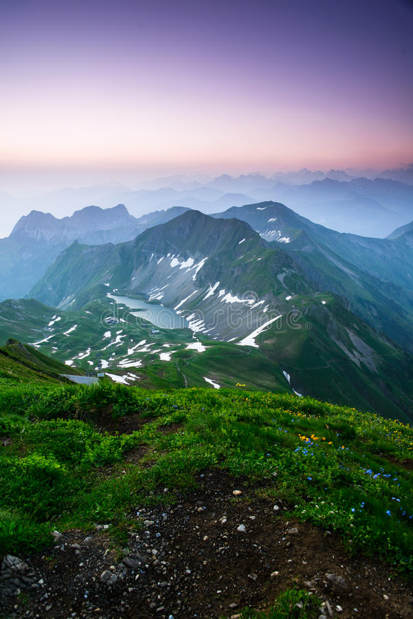 Sunrise mountain panorama from Brienzer Rothorn stock image